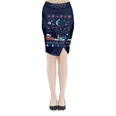 That Snow Moon Star Wars  Ugly Holiday Christmas Blue Background Midi Wrap Pencil Skirt