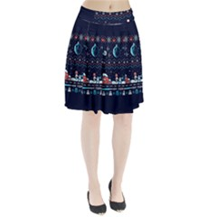 That Snow Moon Star Wars  Ugly Holiday Christmas Blue Background Pleated Skirt