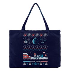 That Snow Moon Star Wars  Ugly Holiday Christmas Blue Background Medium Tote Bag