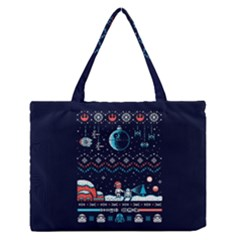 That Snow Moon Star Wars  Ugly Holiday Christmas Blue Background Medium Zipper Tote Bag