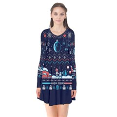 That Snow Moon Star Wars  Ugly Holiday Christmas Blue Background Flare Dress