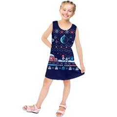 That Snow Moon Star Wars  Ugly Holiday Christmas Blue Background Kids  Tunic Dress
