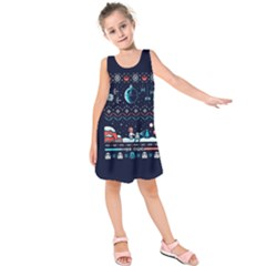 That Snow Moon Star Wars  Ugly Holiday Christmas Blue Background Kids  Sleeveless Dress