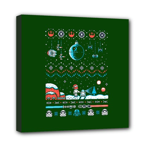 That Snow Moon Star Wars  Ugly Holiday Christmas Green Background Mini Canvas 8  X 8