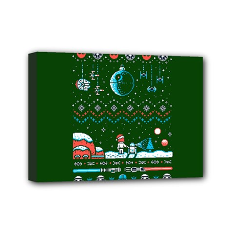 That Snow Moon Star Wars  Ugly Holiday Christmas Green Background Mini Canvas 7  X 5