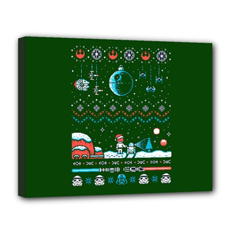 That Snow Moon Star Wars  Ugly Holiday Christmas Green Background Canvas 14  X 11