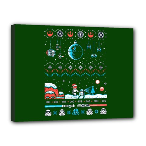 That Snow Moon Star Wars  Ugly Holiday Christmas Green Background Canvas 16  X 12
