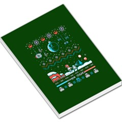 That Snow Moon Star Wars  Ugly Holiday Christmas Green Background Large Memo Pads