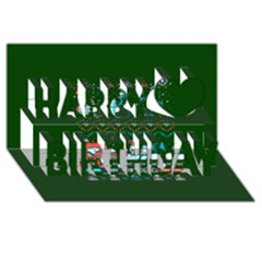 That Snow Moon Star Wars  Ugly Holiday Christmas Green Background Happy Birthday 3D Greeting Card (8x4)