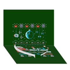 That Snow Moon Star Wars  Ugly Holiday Christmas Green Background Heart Bottom 3d Greeting Card (7x5)