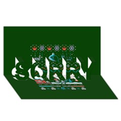 That Snow Moon Star Wars  Ugly Holiday Christmas Green Background Sorry 3d Greeting Card (8x4)