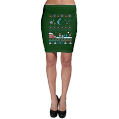 That Snow Moon Star Wars  Ugly Holiday Christmas Green Background Bodycon Skirt