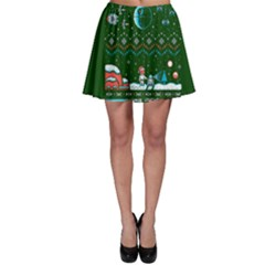 That Snow Moon Star Wars  Ugly Holiday Christmas Green Background Skater Skirt