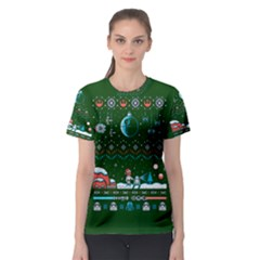 That Snow Moon Star Wars  Ugly Holiday Christmas Green Background Women s Sport Mesh Tee