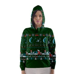 That Snow Moon Star Wars  Ugly Holiday Christmas Green Background Hooded Wind Breaker (women)