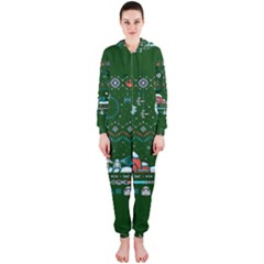 That Snow Moon Star Wars  Ugly Holiday Christmas Green Background Hooded Jumpsuit (ladies)
