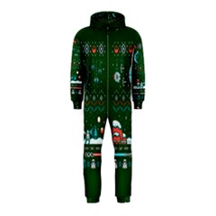 That Snow Moon Star Wars  Ugly Holiday Christmas Green Background Hooded Jumpsuit (kids)