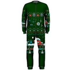That Snow Moon Star Wars  Ugly Holiday Christmas Green Background Onepiece Jumpsuit (men)