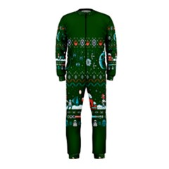 That Snow Moon Star Wars  Ugly Holiday Christmas Green Background Onepiece Jumpsuit (kids)