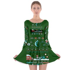 That Snow Moon Star Wars  Ugly Holiday Christmas Green Background Long Sleeve Skater Dress