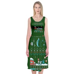 That Snow Moon Star Wars  Ugly Holiday Christmas Green Background Midi Sleeveless Dress