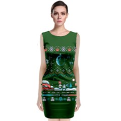 That Snow Moon Star Wars  Ugly Holiday Christmas Green Background Classic Sleeveless Midi Dress