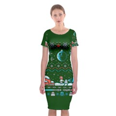 That Snow Moon Star Wars  Ugly Holiday Christmas Green Background Classic Short Sleeve Midi Dress