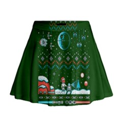 That Snow Moon Star Wars  Ugly Holiday Christmas Green Background Mini Flare Skirt