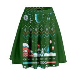 That Snow Moon Star Wars  Ugly Holiday Christmas Green Background High Waist Skirt