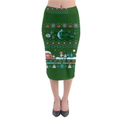 That Snow Moon Star Wars  Ugly Holiday Christmas Green Background Midi Pencil Skirt
