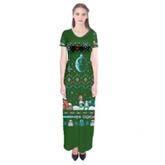 That Snow Moon Star Wars  Ugly Holiday Christmas Green Background Short Sleeve Maxi Dress