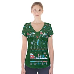 That Snow Moon Star Wars  Ugly Holiday Christmas Green Background Short Sleeve Front Detail Top