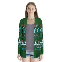 That Snow Moon Star Wars  Ugly Holiday Christmas Green Background Drape Collar Cardigan
