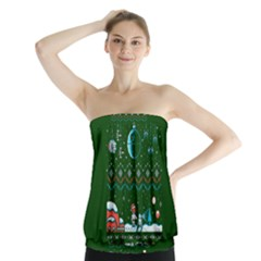 That Snow Moon Star Wars  Ugly Holiday Christmas Green Background Strapless Top