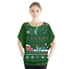 That Snow Moon Star Wars  Ugly Holiday Christmas Green Background Blouse