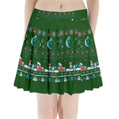 That Snow Moon Star Wars  Ugly Holiday Christmas Green Background Pleated Mini Skirt