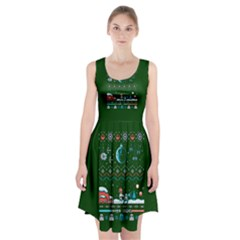 That Snow Moon Star Wars  Ugly Holiday Christmas Green Background Racerback Midi Dress