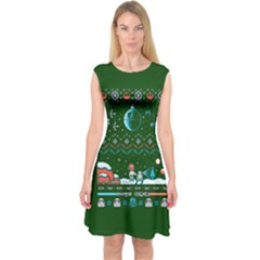 That Snow Moon Star Wars  Ugly Holiday Christmas Green Background Capsleeve Midi Dress