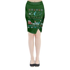That Snow Moon Star Wars  Ugly Holiday Christmas Green Background Midi Wrap Pencil Skirt