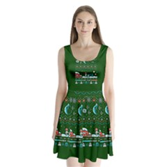 That Snow Moon Star Wars  Ugly Holiday Christmas Green Background Split Back Mini Dress