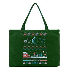 That Snow Moon Star Wars  Ugly Holiday Christmas Green Background Medium Tote Bag