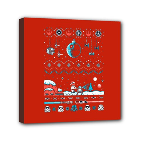 That Snow Moon Star Wars  Ugly Holiday Christmas Red Background Mini Canvas 6  X 6