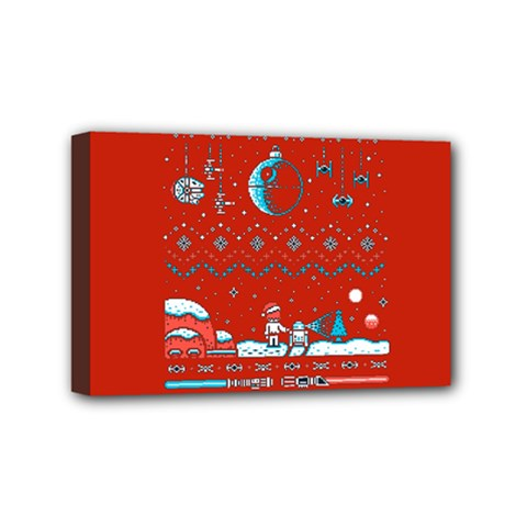 That Snow Moon Star Wars  Ugly Holiday Christmas Red Background Mini Canvas 6  X 4