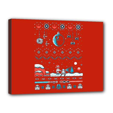 That Snow Moon Star Wars  Ugly Holiday Christmas Red Background Canvas 16  X 12