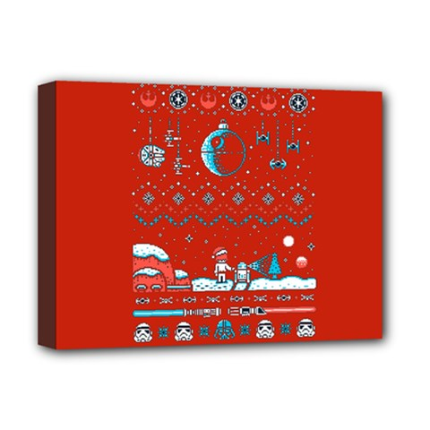 That Snow Moon Star Wars  Ugly Holiday Christmas Red Background Deluxe Canvas 16  X 12