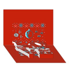 That Snow Moon Star Wars  Ugly Holiday Christmas Red Background Love Bottom 3d Greeting Card (7x5)