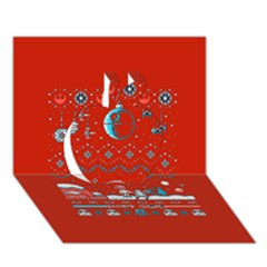 That Snow Moon Star Wars  Ugly Holiday Christmas Red Background Apple 3d Greeting Card (7x5)