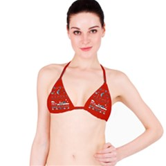 That Snow Moon Star Wars  Ugly Holiday Christmas Red Background Bikini Top