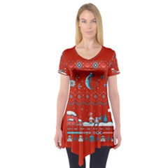 That Snow Moon Star Wars  Ugly Holiday Christmas Red Background Short Sleeve Tunic