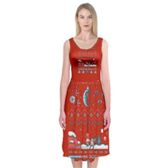 That Snow Moon Star Wars  Ugly Holiday Christmas Red Background Midi Sleeveless Dress